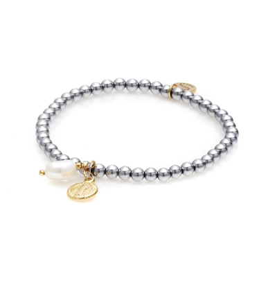 Silk and Steel Together Forever Bracelet - Gold/Pearl