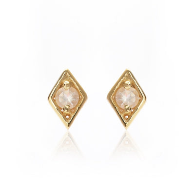 Silk & Steel Superfine Keepsake Stud - Rose Quartz/Gold