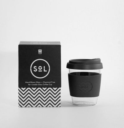 SOL RESUABLE CUP, PLASTIC FREE, HANDBLOWN GLASS, BLACK