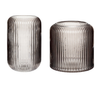 HUBSCH REEDED GLASS VASES, GREY, DANISH DESIGN