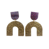 Hagen & Co Night Fever Earrings - Purple / Gold Sparkle