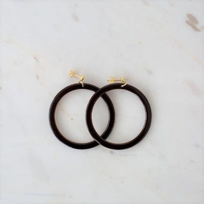 sophie bramble hoops, earring, brown