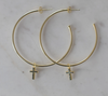 SOPHIE Sparkle Cross Hoops - Gold
