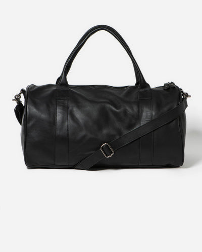 Stitch & Hide Globe Weekender Bag - Black, leather