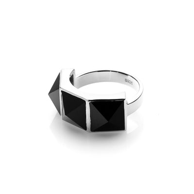Silk & Steel Socialite Rock Glam Ring - Black Spinel/Silver