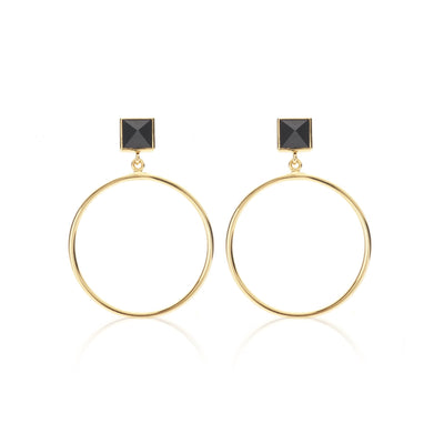 Silk & Steel Socialite Vibes Earring - Black Spinel/Gold, hoop