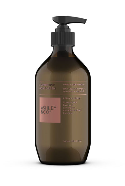 Ashley & Co Soother Up Gone Green, Peppy & Lucent, Hand & Body Lotion, Organic