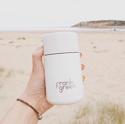 FRANK GREEN REUSABLE TRAVEL CUP, STAINLESS STEEL, coconut milk, white, 10OZ, 295ML