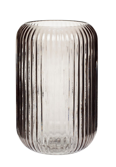 Hubsch Reeded Glass Vases - Smoked Grey
