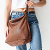 Juju Perforated Leather Slouchy Bag - Cognac