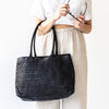 Juju Woven Tote - Black, LEATHER BAG