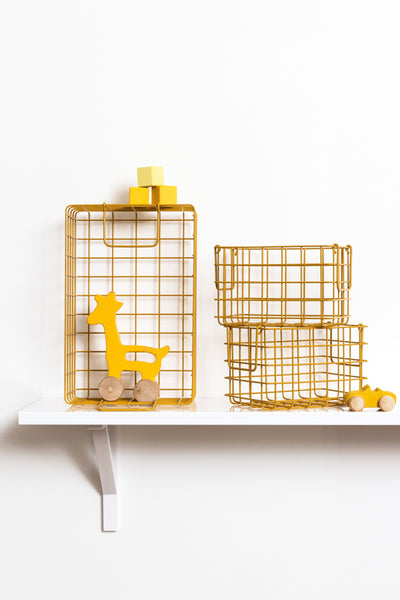 mustard made wire baskets, mustard, yellow