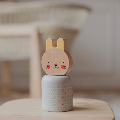 Petit Collage Wind Up Wooden Musical Bunny
