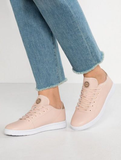 woden jane leather sneaker, calf, sustainable, cork, blush pink