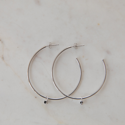 SOPHIE Mini Rock Hoops - Silver/Black