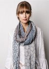 Briarwood Wool Patchwork Scarf - Blue/Taupe