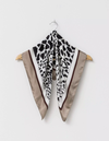 Stella & Gemma Square Pleated Scarf - Leopard/Beige Border