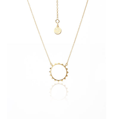 Silk & Steel Known For Necklace - Gold, spike hoop