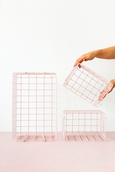 mustard made wire baskets, blush, pink