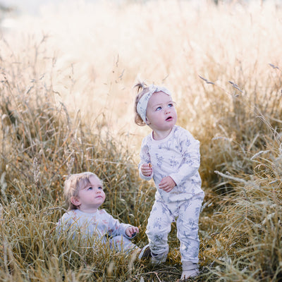 Burrow & Be Meadow Long Romper - Blush with Dark Grey