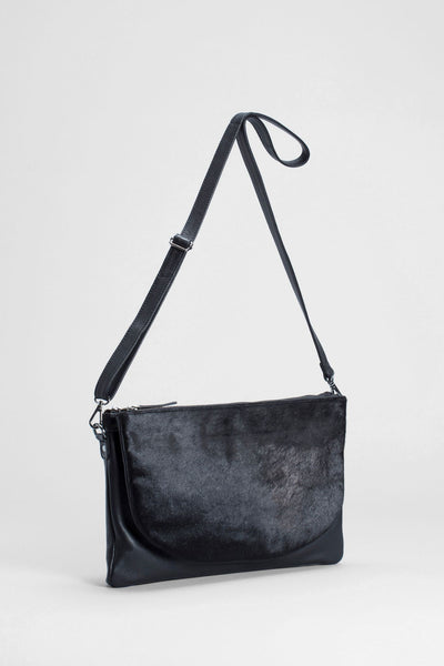 Elk Flon Large Bag - Black, leather, cow hair