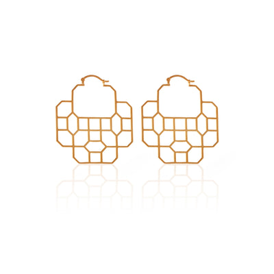 SILK & STEEL REGAL EARRING, HAVELI, GOLD