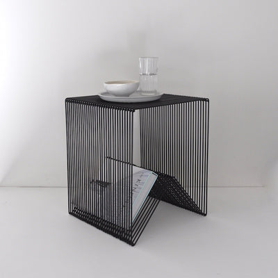 ICO TRADERS WILLOWBY TABLE, STOOL, CUBE, WIRE FURNITURE BLACK