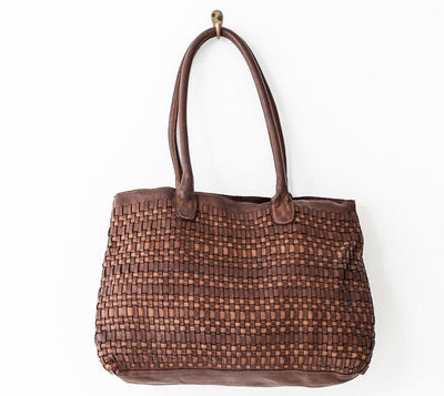 Juju Woven Tote - Cognac, LEATHER BAG