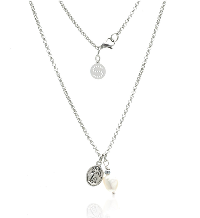 Silk and Steel Together Forever Necklace - Silver/Pearl