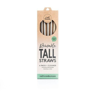 CALIWOODS REUSABLE METAL STRAWS, 4 PACK, PLASTIC FREE