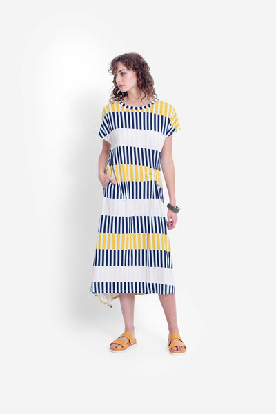 Elk Valby Dress - Navy Stripe Mix