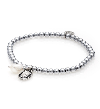 Silk and Steel Together Forever Bracelet Silver/Pearl