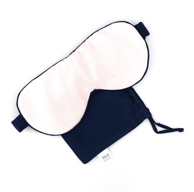 Silk Magnolia Pure Silk Travel Mask - Peony Pink with French Navy