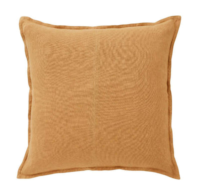 Weave Como Square Cushion 60 x 60cm - Amber, yellow, linen