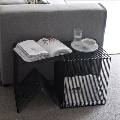 ICO TRADERS WILLOUGHBY TABLE, STOOL, CUBE, WIRE FURNITURE BLACK