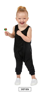 Toddler kids romper in black. Shop now.