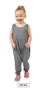 Toddler kids romper in gray. Shop now.