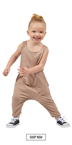 Toddler kids romper in taupe. Shop now.