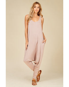 Women's romper jumpsuit in taupe.