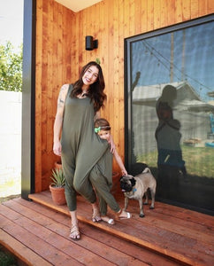 Momper Romper Mom + Mini Child Set in Olive Green