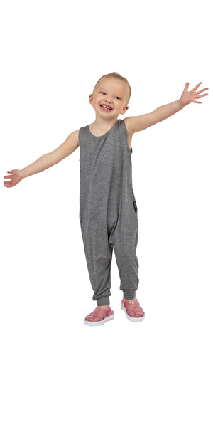 Momper Romper toddler kid mini onepiece in gray.