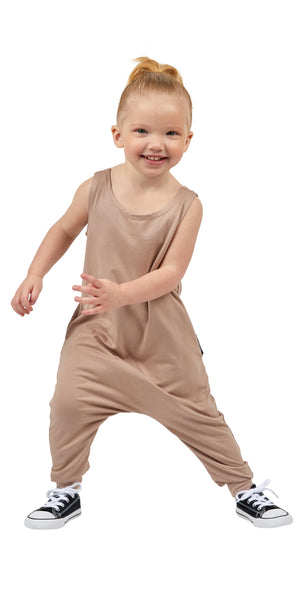 Momper Romper toddler kid mini onepiece in taupe.