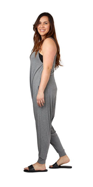 Adult Momper Romper in gray.