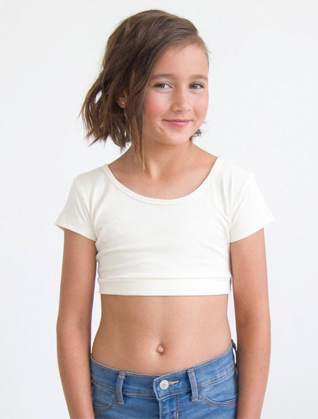 Girls short sleeve layering top in white.