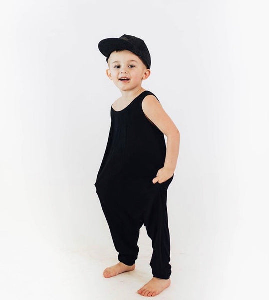 Boy toddler romper in black.