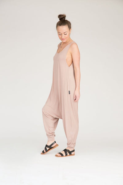 Women's Momper Romper in taupe.