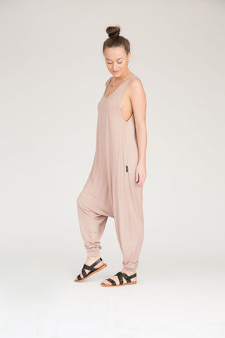 Adult Momper Romper in taupe.