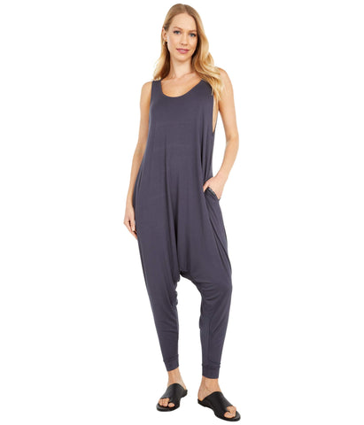Adult Women's Momper Romper in slate blue.