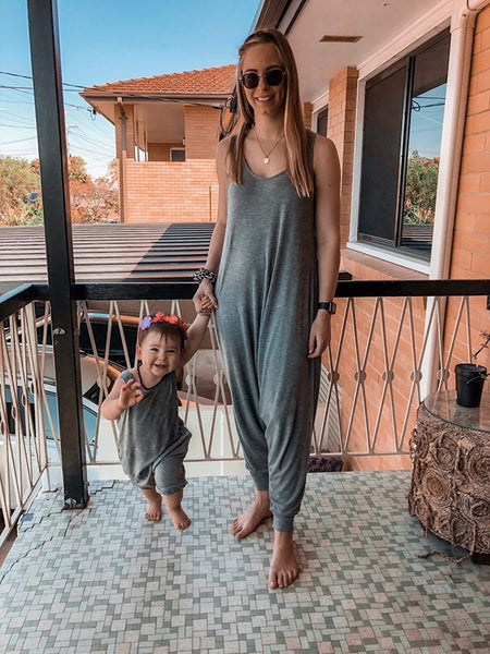 Momper Romper Mom + Mini Child Set in Gray