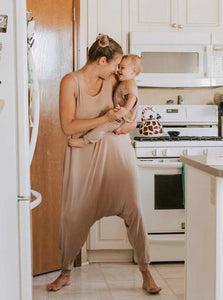Momper Romper Mom + Mini Child Set in Taupe